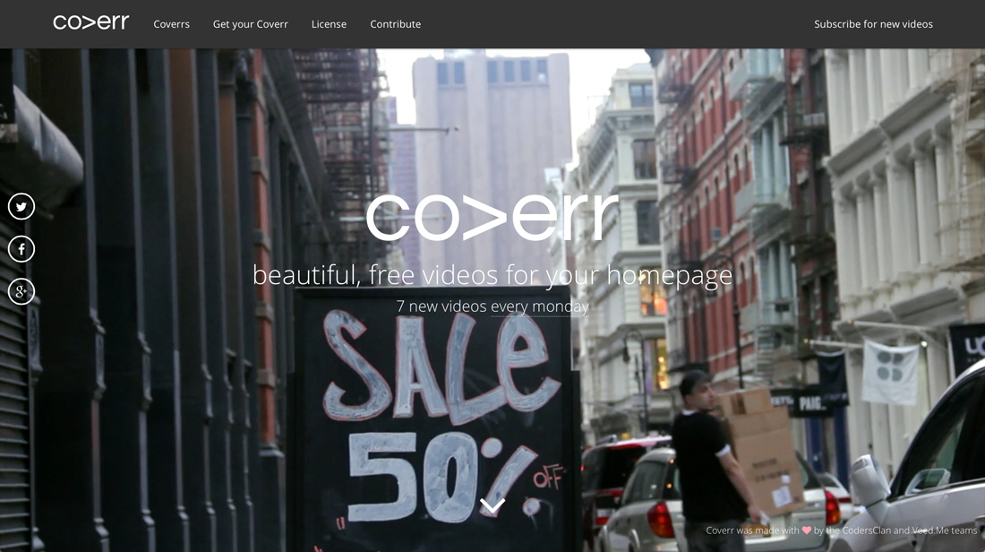 『coverr』ウェブサイト